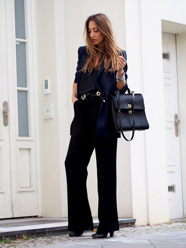 Black Cape Coat with Flared Jeans