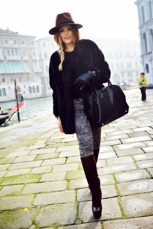 Black Coat with Handbag