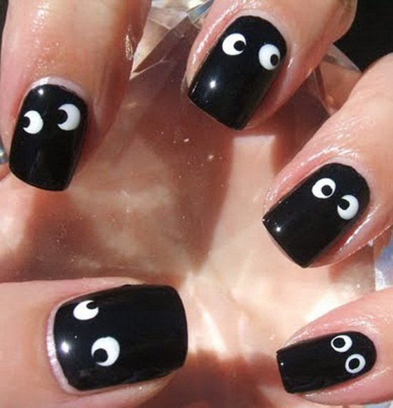Black Halloween Nail Design