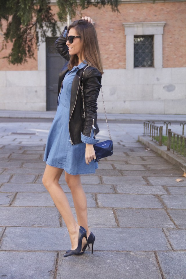 Black Womens Faux Leather Jacket and Denim Dress