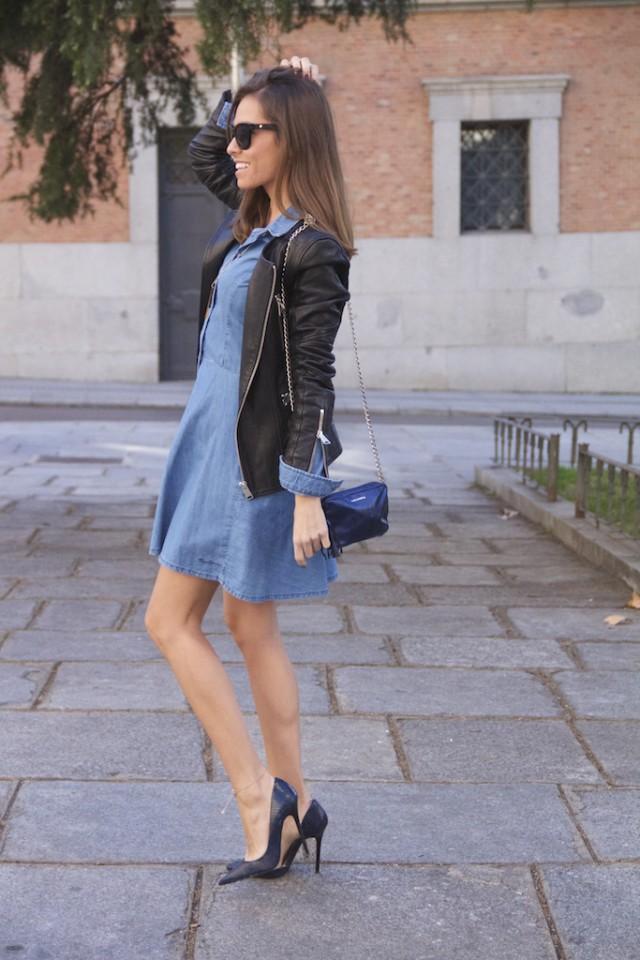 Black Leather Jacket with Denim Dress