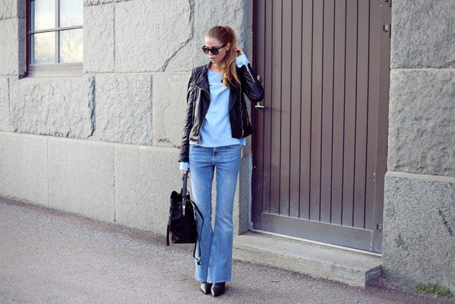 Black Leather Jacket with Flared Jeans