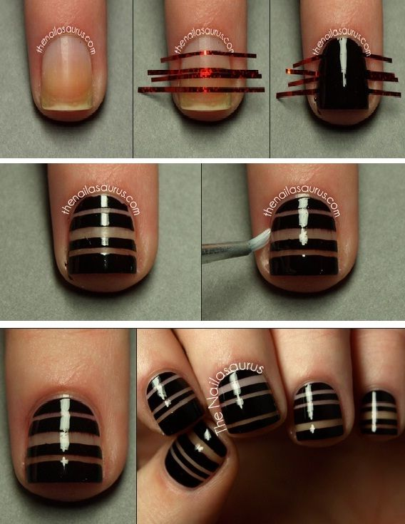 15 Easy Nail Tutorials with Scotch Tape - Pretty Designs