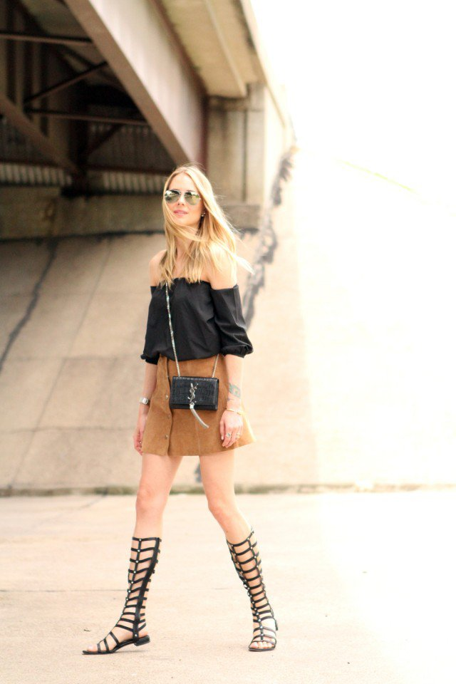 Black Shirt with Suede Button Down Skirt