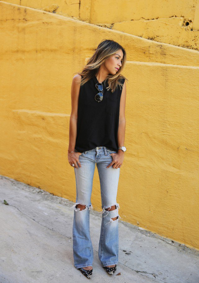 Black Top with Flared Jeans