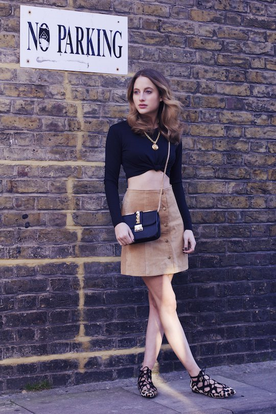 Black Top with Suede Button Down Skirt