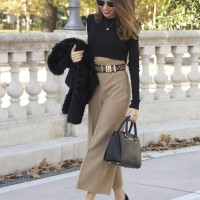 Black Top with Wide Leg Pants