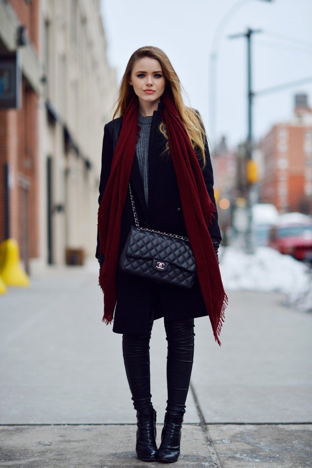 Black Trench Coat and Handbag