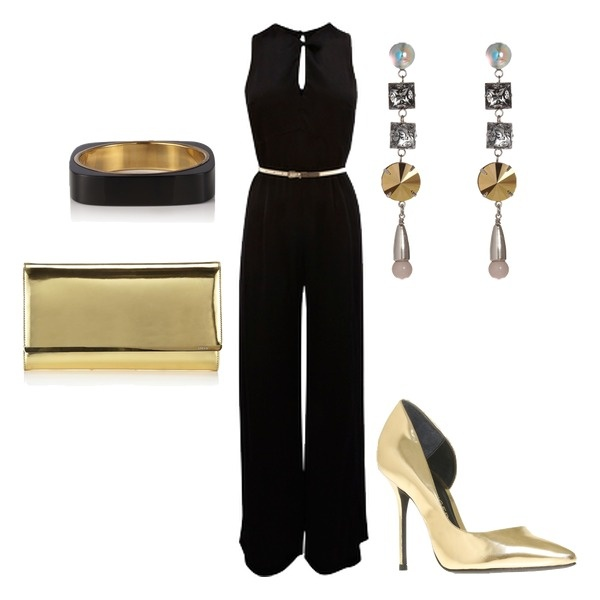 Black and Gold Night Out Outfit Idea