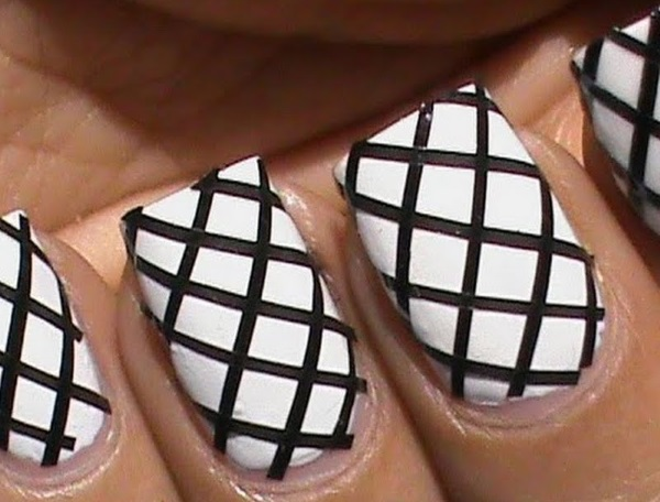 Black and White Fishnet Nail Design