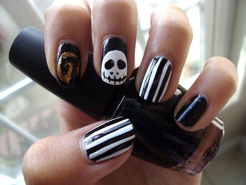 Black and White Halloween Nail Design