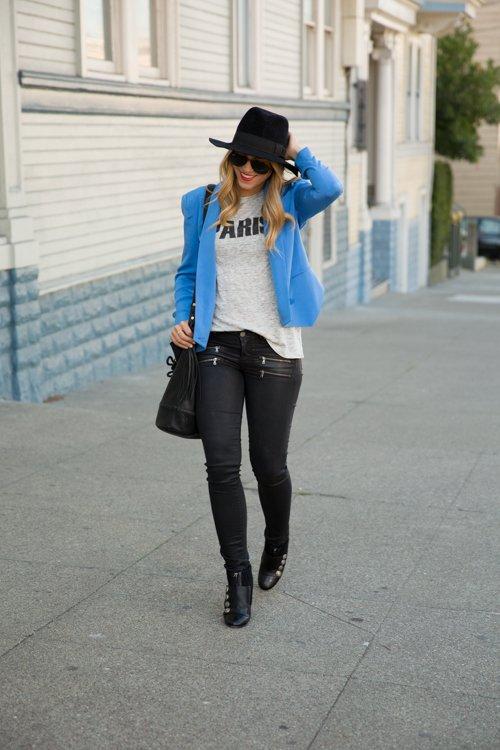 Blue Blazer with Black Jeans