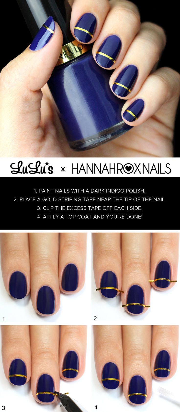 Blue and Golden Striped Nail Tutorial