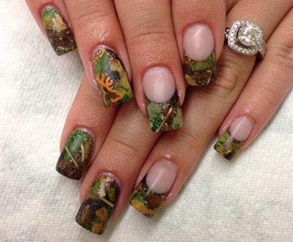 Camouflage French Manicure - 13 Pretty Camouflage Nail Designs - Pretty Designs