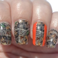 Camouflage Nail Design with Stripes