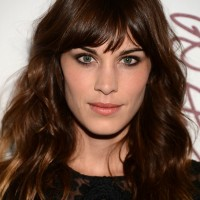 Celebrity Hair Idea - Alexa Chung Long Wavy Hairstyle with Bangs