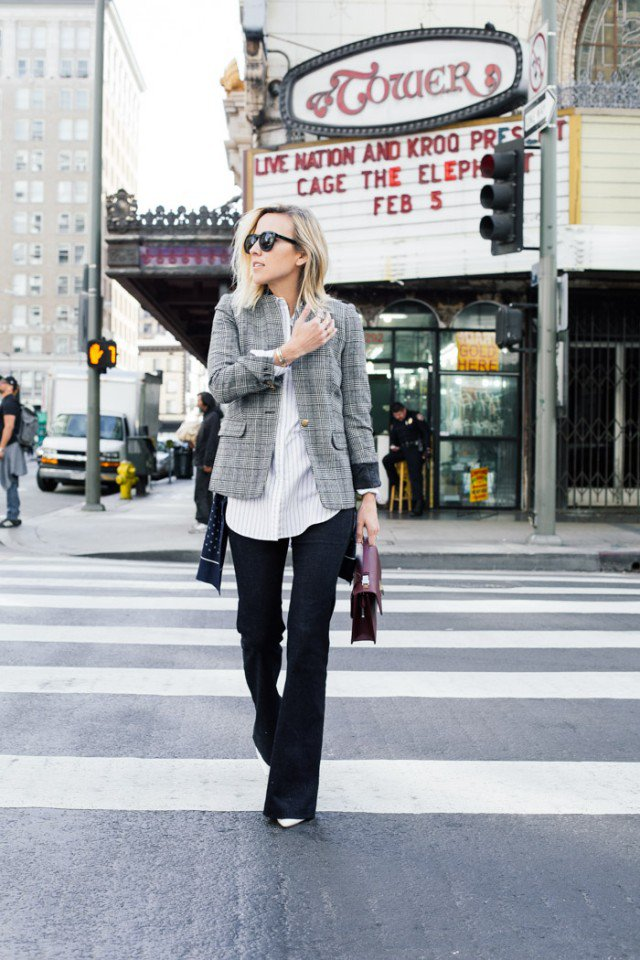 Checked Blazer with Flared Jeans