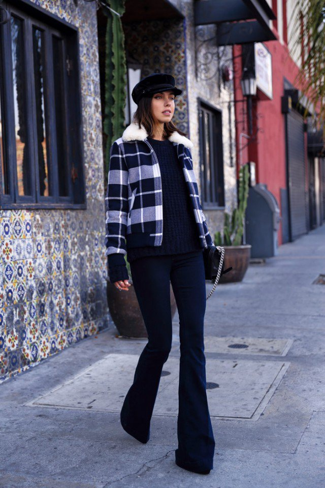 Checkered Blazer with Flared Jeans
