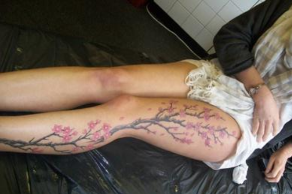 Cherry Blossom Leg Tattoo