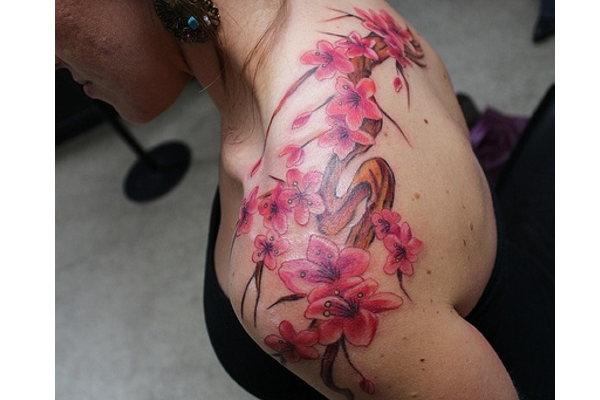 Cherry Blossom Shoulder Tattoos