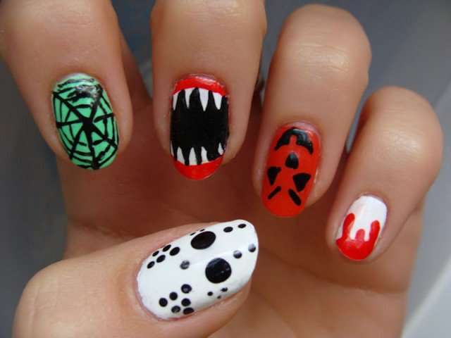 Colorful Halloween Nail Design