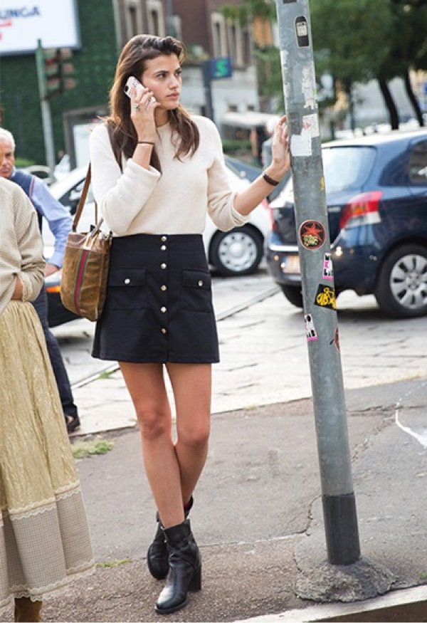 Cream Sweater with Suede Button Down Skirt