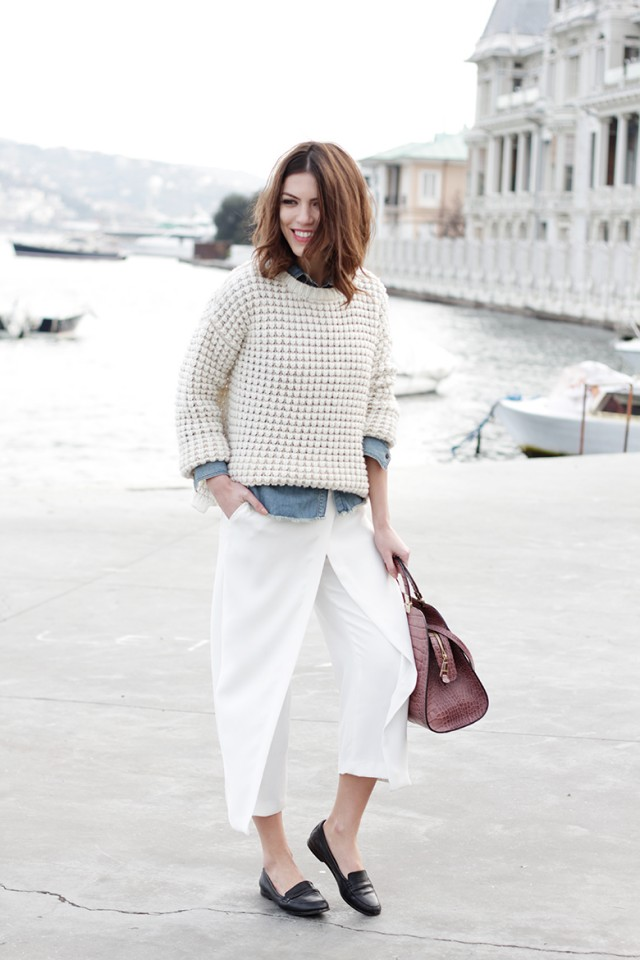 Cream Sweater with White Pants