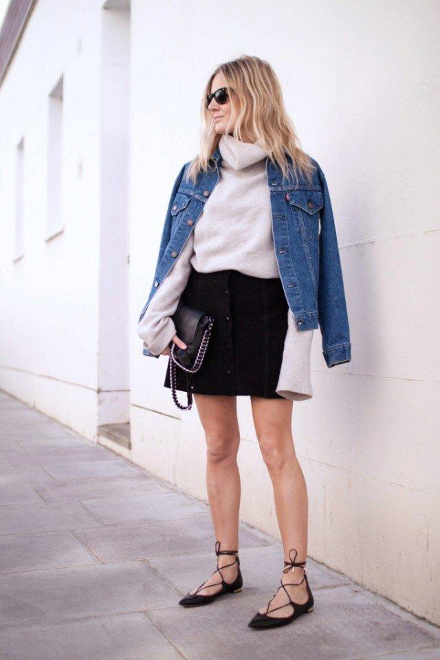 Denim Jacket with Black Suede Button Down Skirt