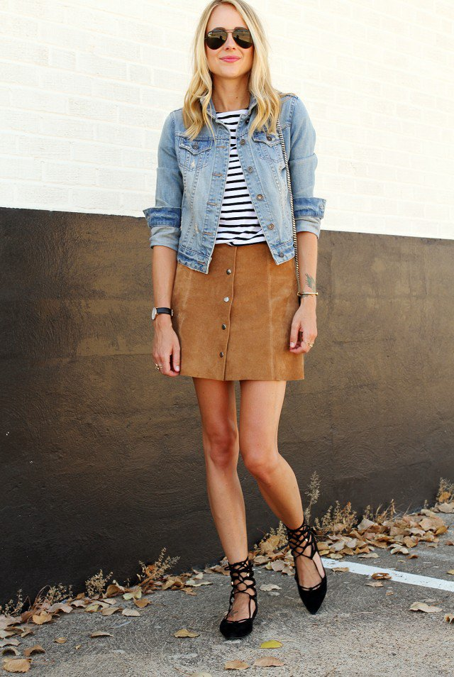 Denim Jacket with Suede Button Down Skirt