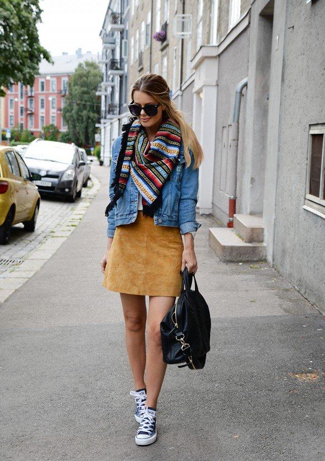 Denim Jacket with Suede Skirt