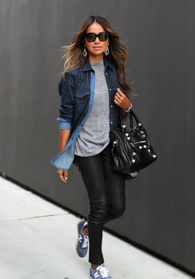 Denim Shirt with Black Leather Pants