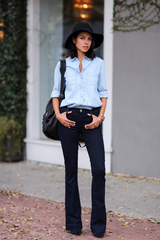 Denim Shirt with Flared Jeans