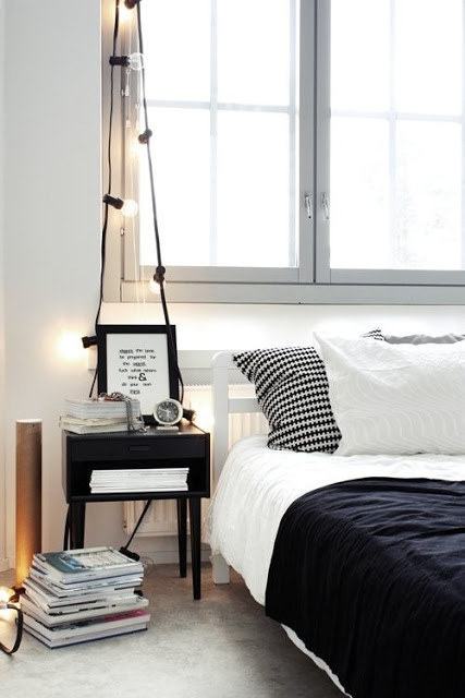 Drape bigger bulbs above your nightstand