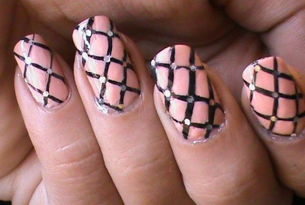 Embellished Fishnet Nail Design