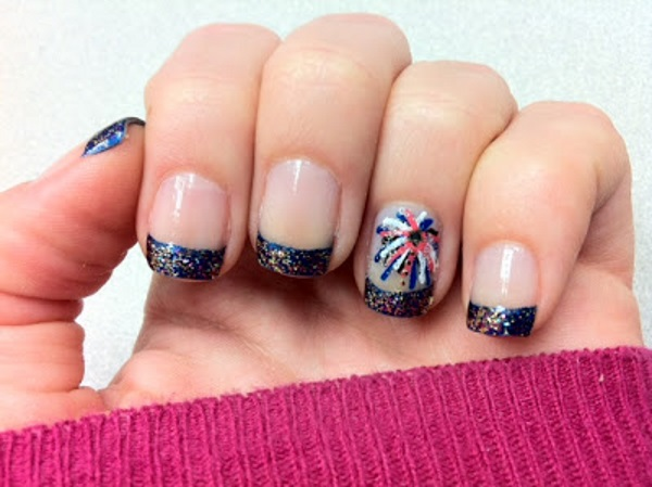 Fireworks Nails With Glitter Tips