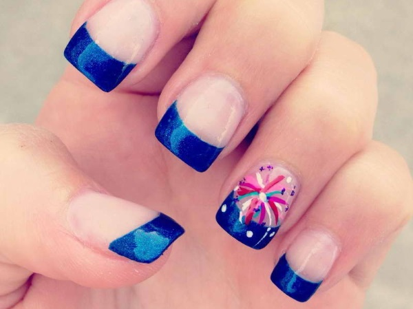 French Mani Fireworks Nails