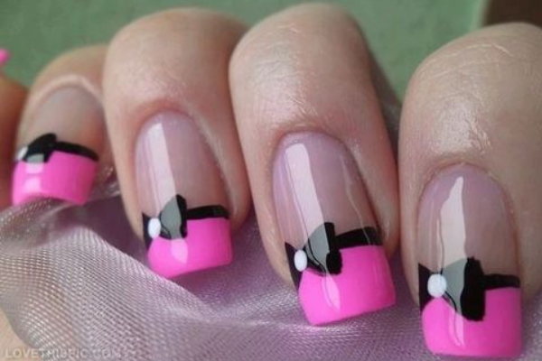 17 cute bow nail designs pretty designs french manicure for bow nails prinsesfo Image collections