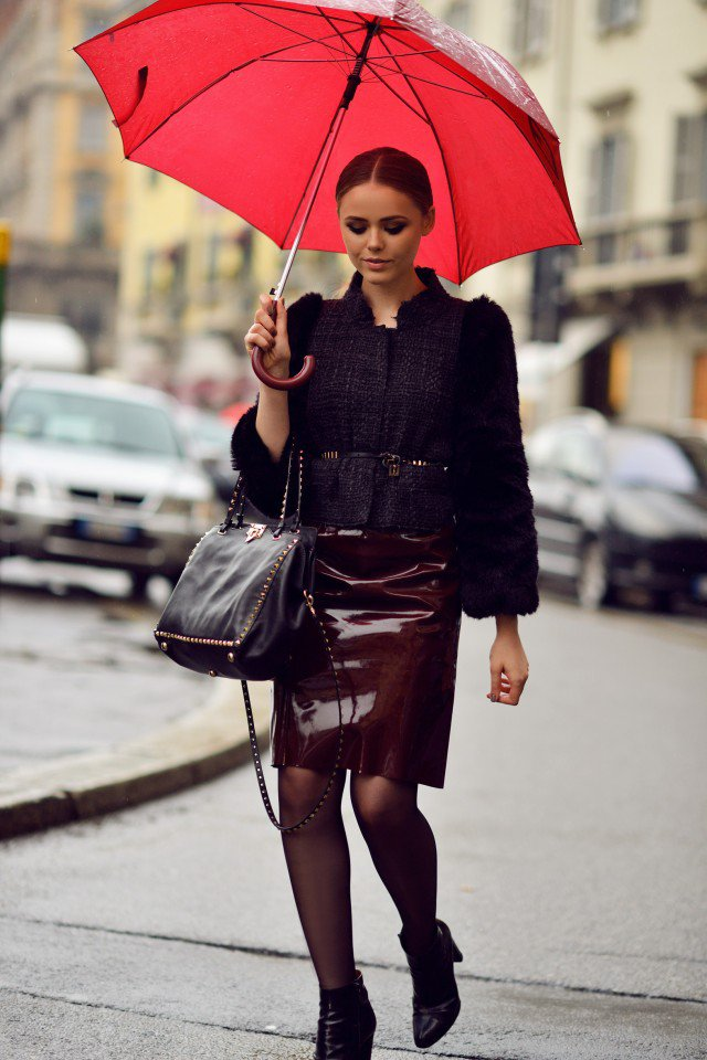 Fur Jacket with Pencil Skirt