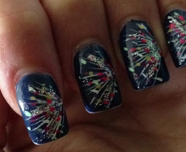 Glitter Burst Firework Nails
