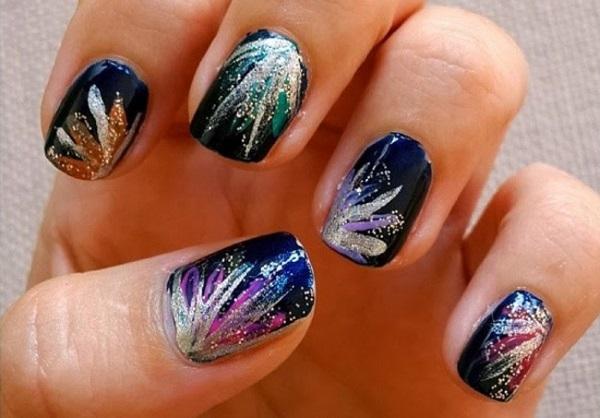 Glitter Fireworks Nails