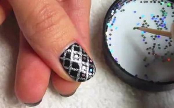 Glittery Fishnet Nail Design