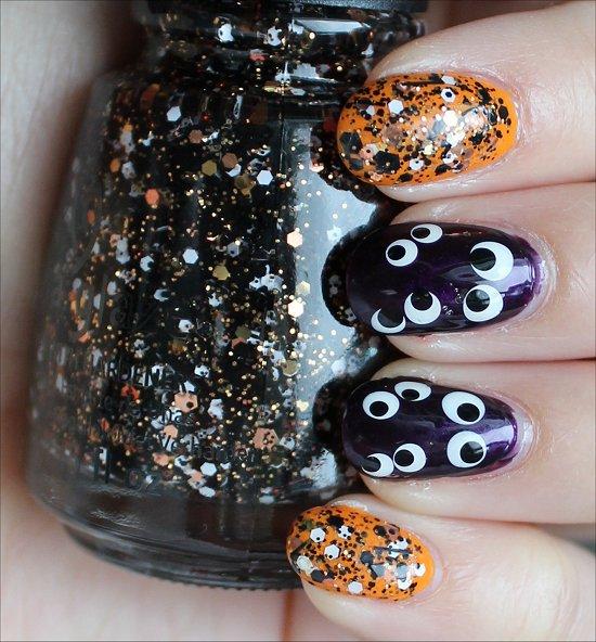 Glittery Halloween Nail Design