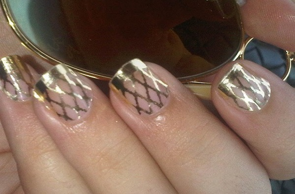 Gold Fishnet Nail Design