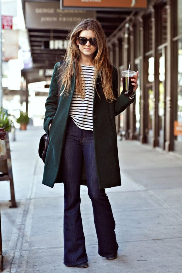 Green Coat with Flared Jeans