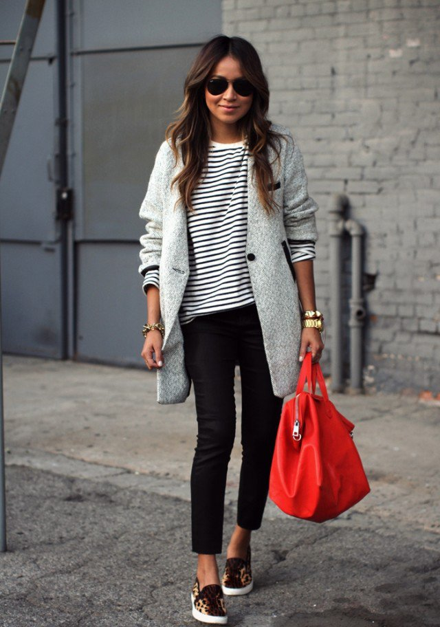 Grey Coat with Black Jeans