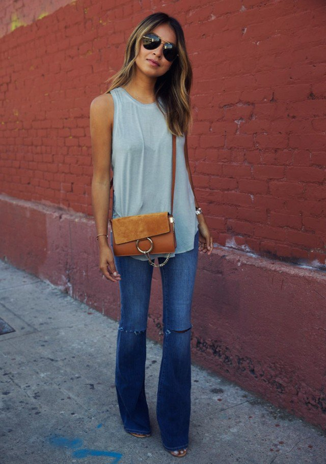 Grey Top with Flared Jeans