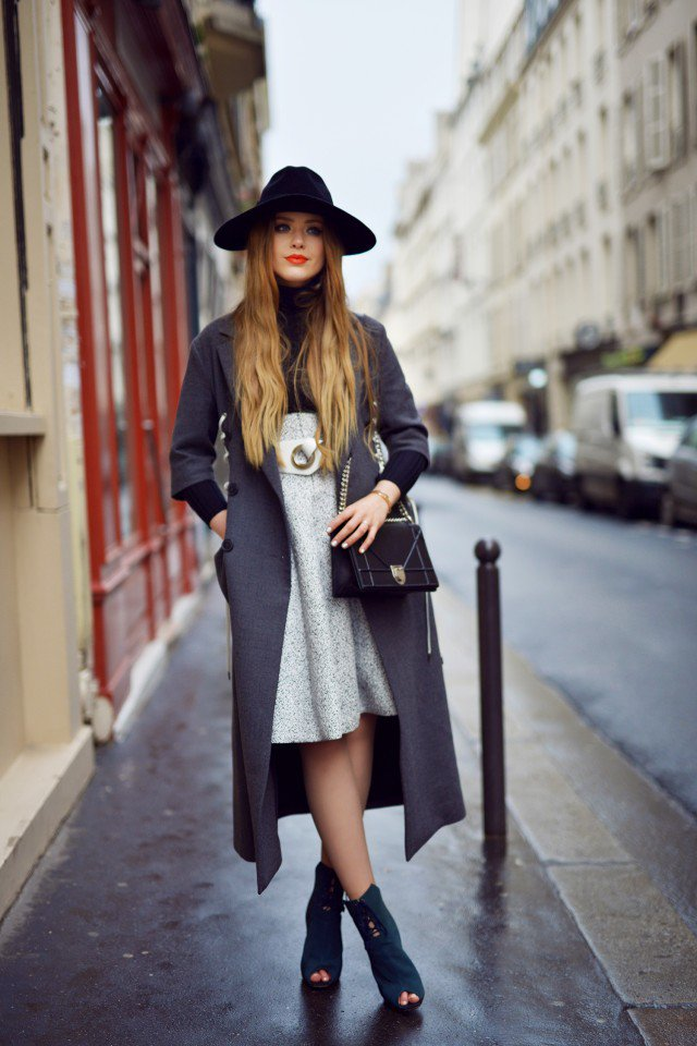 Grey Trench Coat with Black Hat