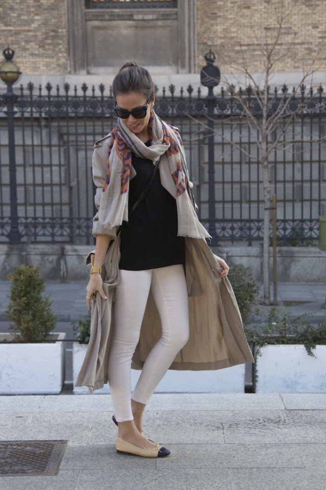 Grey Trench Coat with White Pants