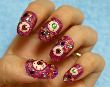 Halloween Nail Design - Horror Eyes