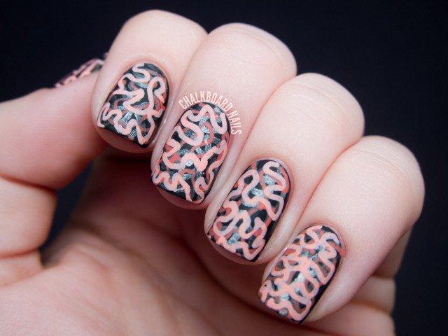Halloween Nail Design - Matte Brain